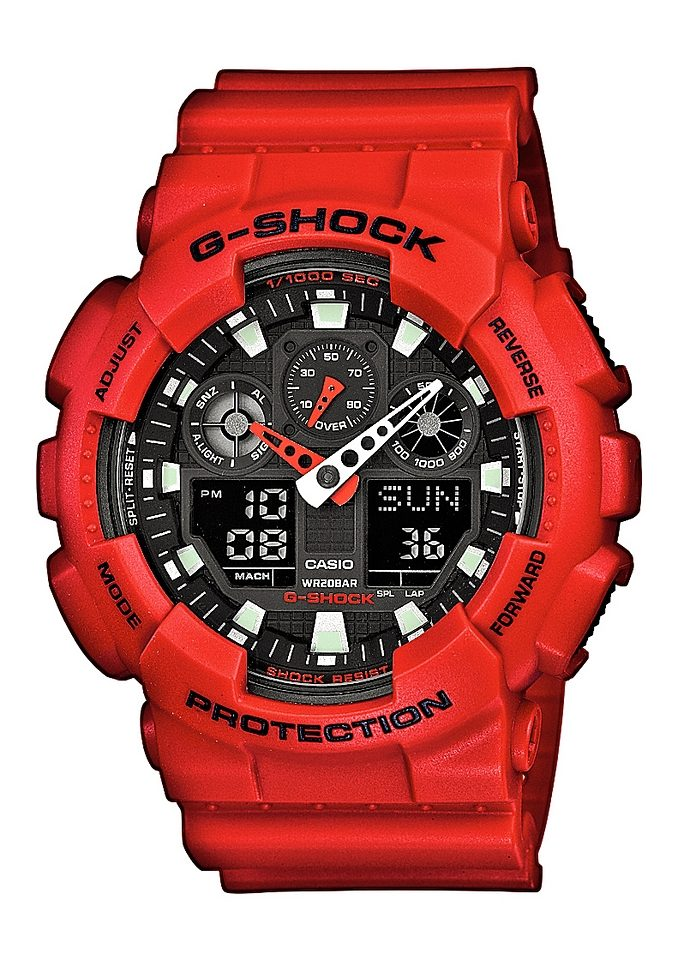 CASIO G-SHOCK Chronograph GA-100B-4AER   Uhren > Chronographen   Rot   Casio G-Shock