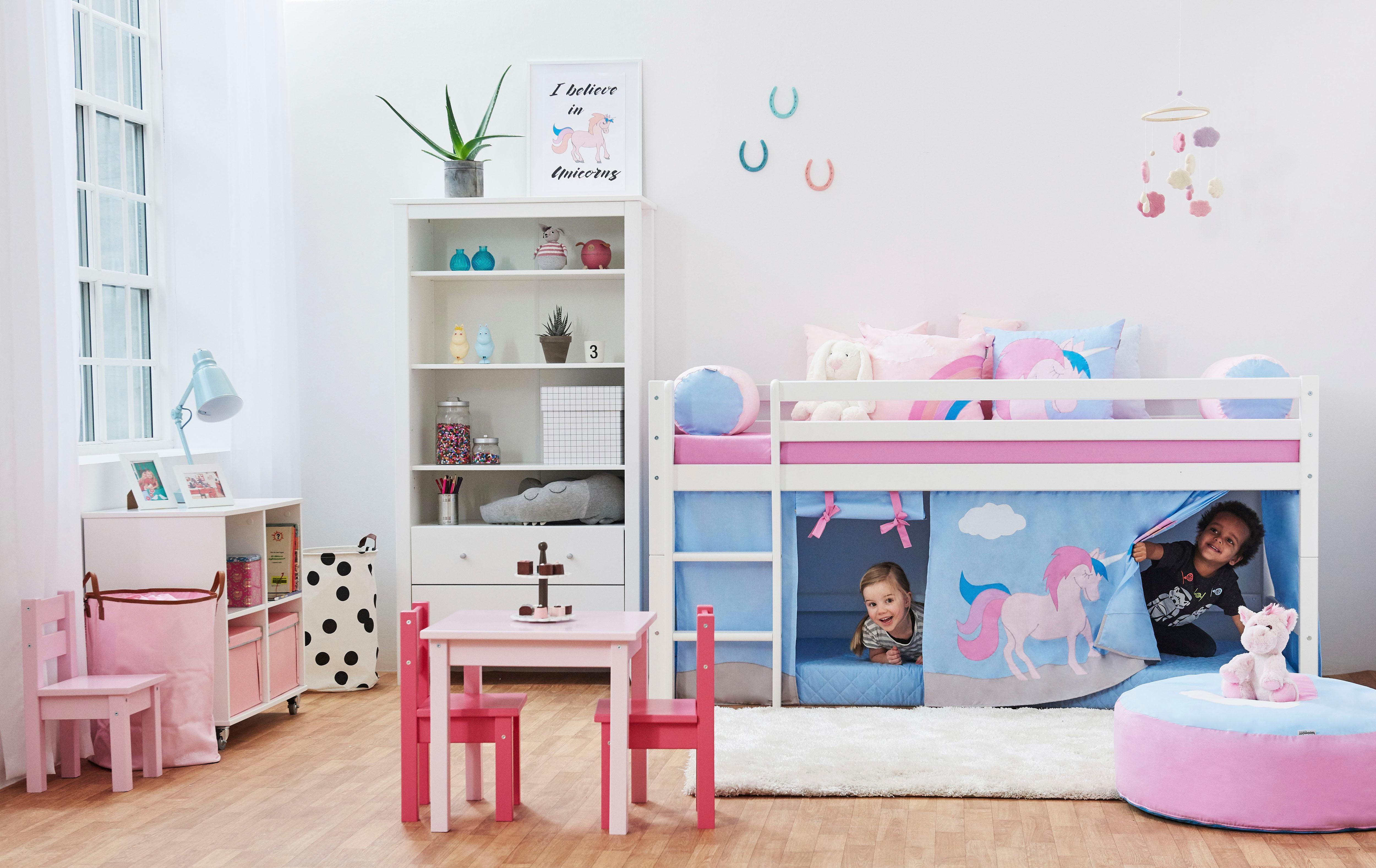 Hoppekids Halbhohes Bett »Einhorn«, inkl. Vorhang-Set, Matratze und Rollrost