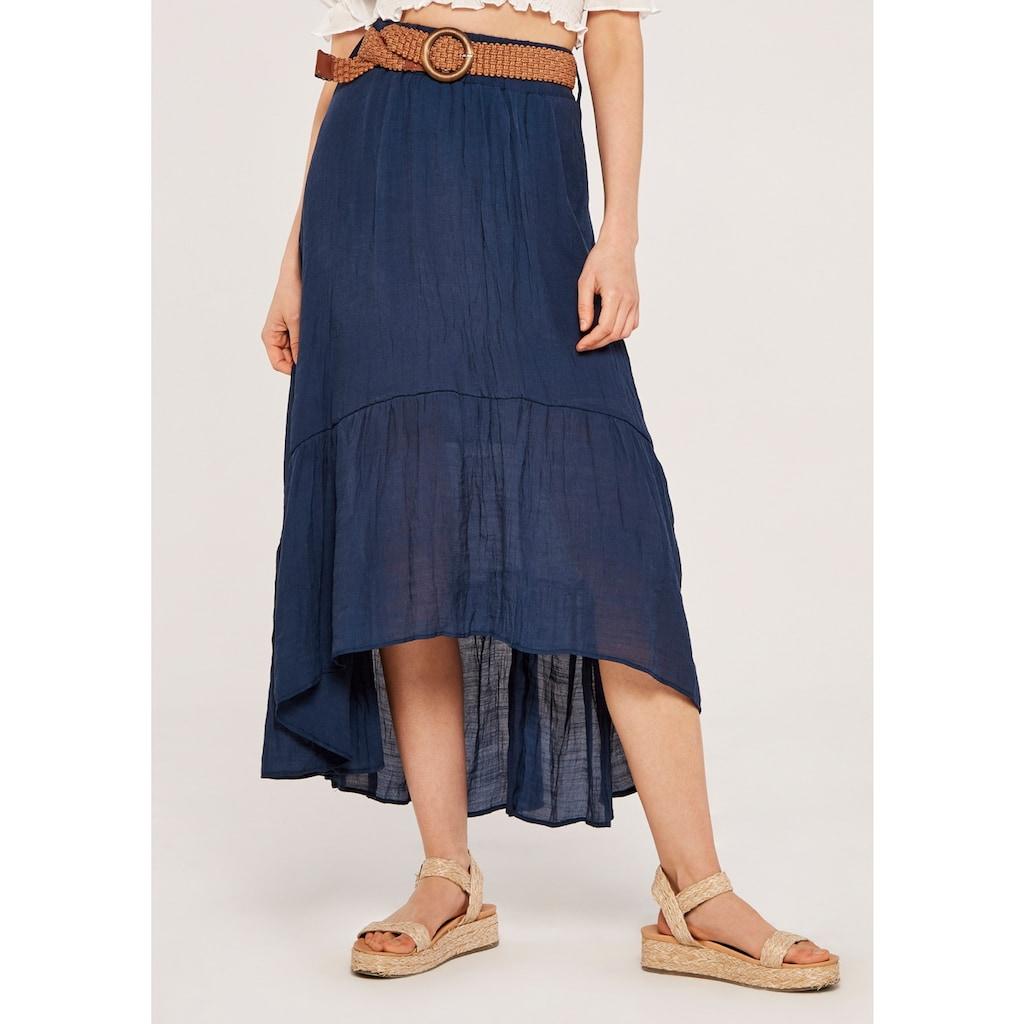 Apricot Maxirock »Shark Hem Crinkle Belted Skirt«, (mit Gürtel), mit Flechtgürtel