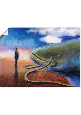 Artland Wandbild »Einen dicken Fisch an Land ziehen«, Wassertiere, (1 St.), in vielen... kaufen