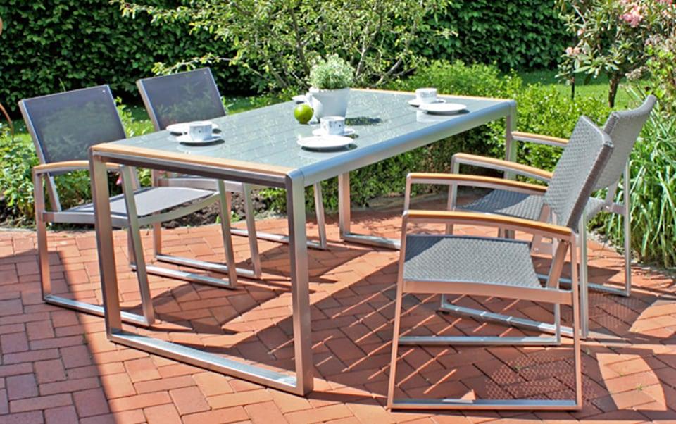 GARDEN PLEASURE Gartenmöbelset AVA 5-tlg 4 Sessel Tisch Alu/Polyrattan