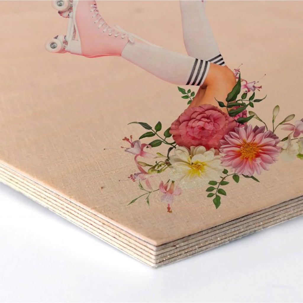 Wall-Art Holzbild »Rollerblades Blumen Holzbild«, (1 St.)