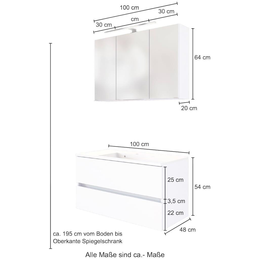 HELD MÖBEL Waschtisch-Set »Baabe«, (Set, 2 St.), Breite 100 cm, Softclose-Funktion
