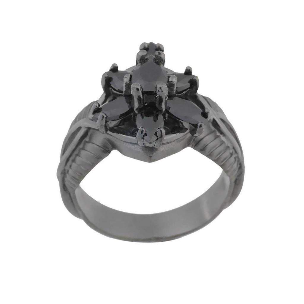 Der Herr der Ringe Fingerring »Dark Years Collection Arwens Abendstern - schwarz, 20002138«, Made in Germany - mit Zirkonia (synth.)