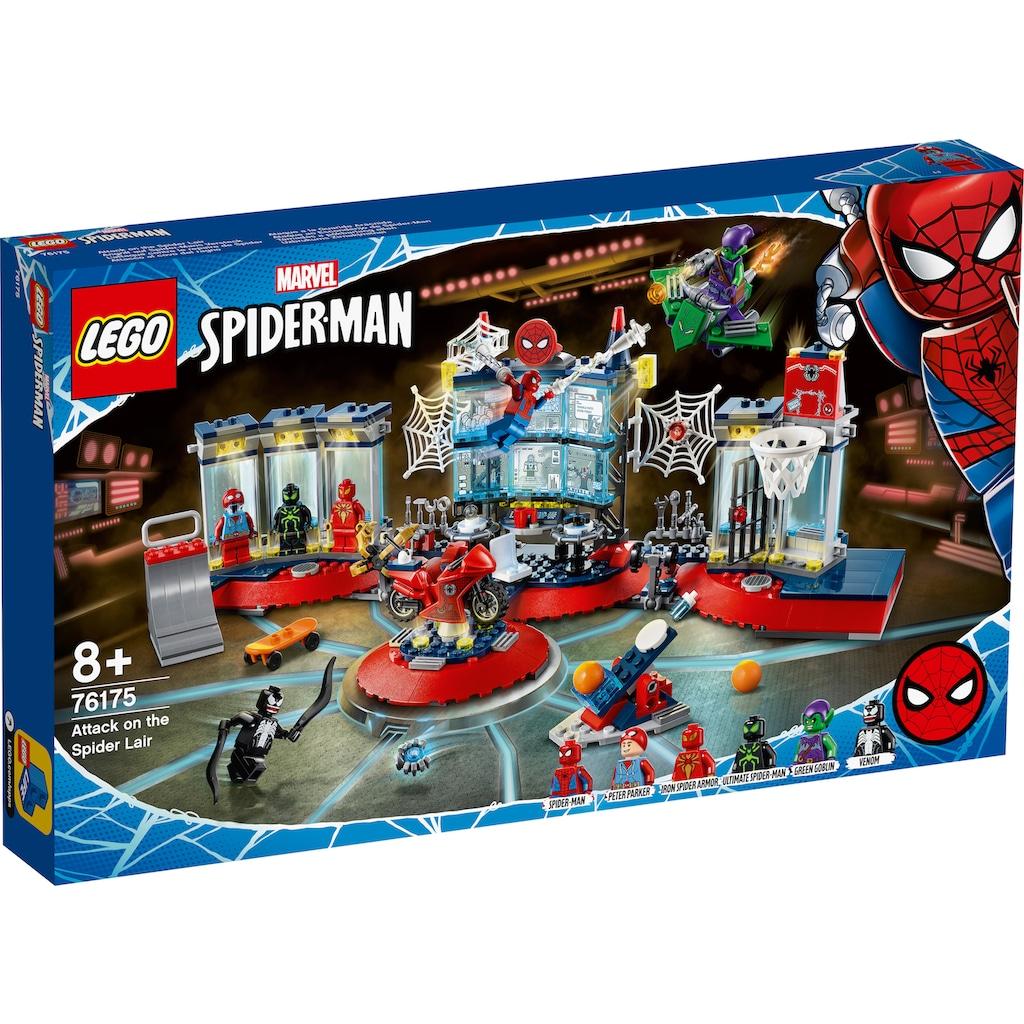 LEGO® Konstruktionsspielsteine »Angriff auf Spider-Mans Versteck (76175), LEGO® Marvel Super Heroes«, (466 St.), Made in Europe