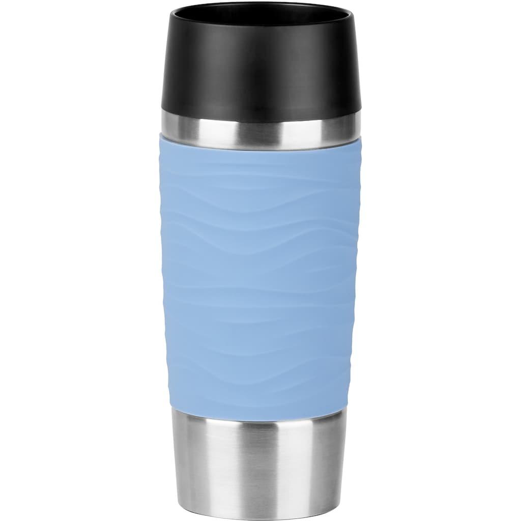 Emsa Thermobecher »Travel Mug Waves«, Edelstahl, 360 ml Inhalt, 100% dicht, auslaufsicher, 360°-Rundum-Trinköffnung, spülmaschinenfest