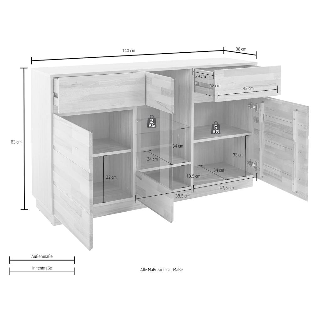 Premium collection by Home affaire Sideboard, Breite 140 cm mit 2 Schubkästen