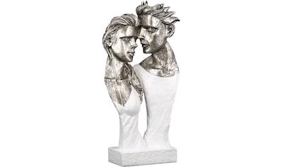 GILDE Dekofigur »Skulptur Believe, weiß/silberfarben«, Dekoobjekt, Höhe 35, Pärchen, antikfinish, mit Spruchanhänger, Wohnzimmer kaufen