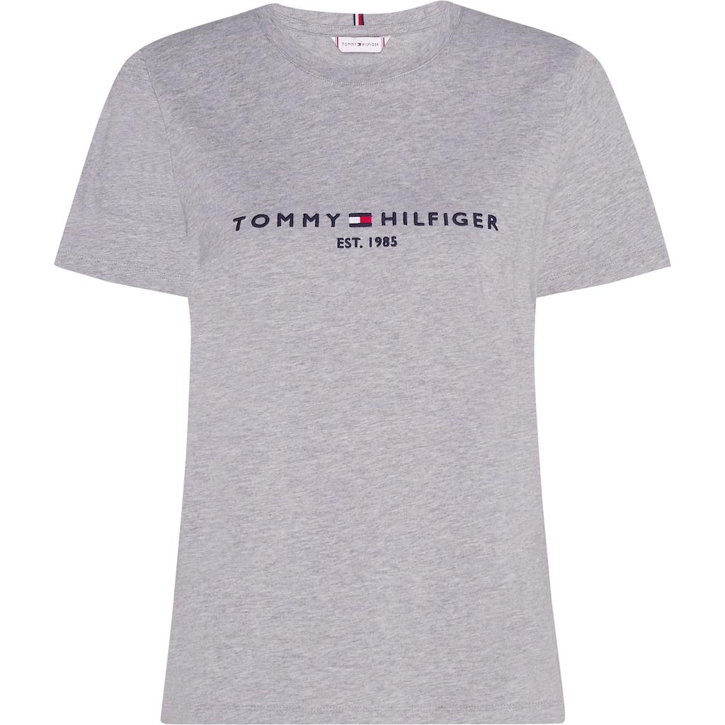 Tommy Hilfiger Rundhalsshirt »HERITAGE HILFIGER C-NK REG TEE«, mit gesticktem Tommy Hilfiger Linear Logo-Schriftzug