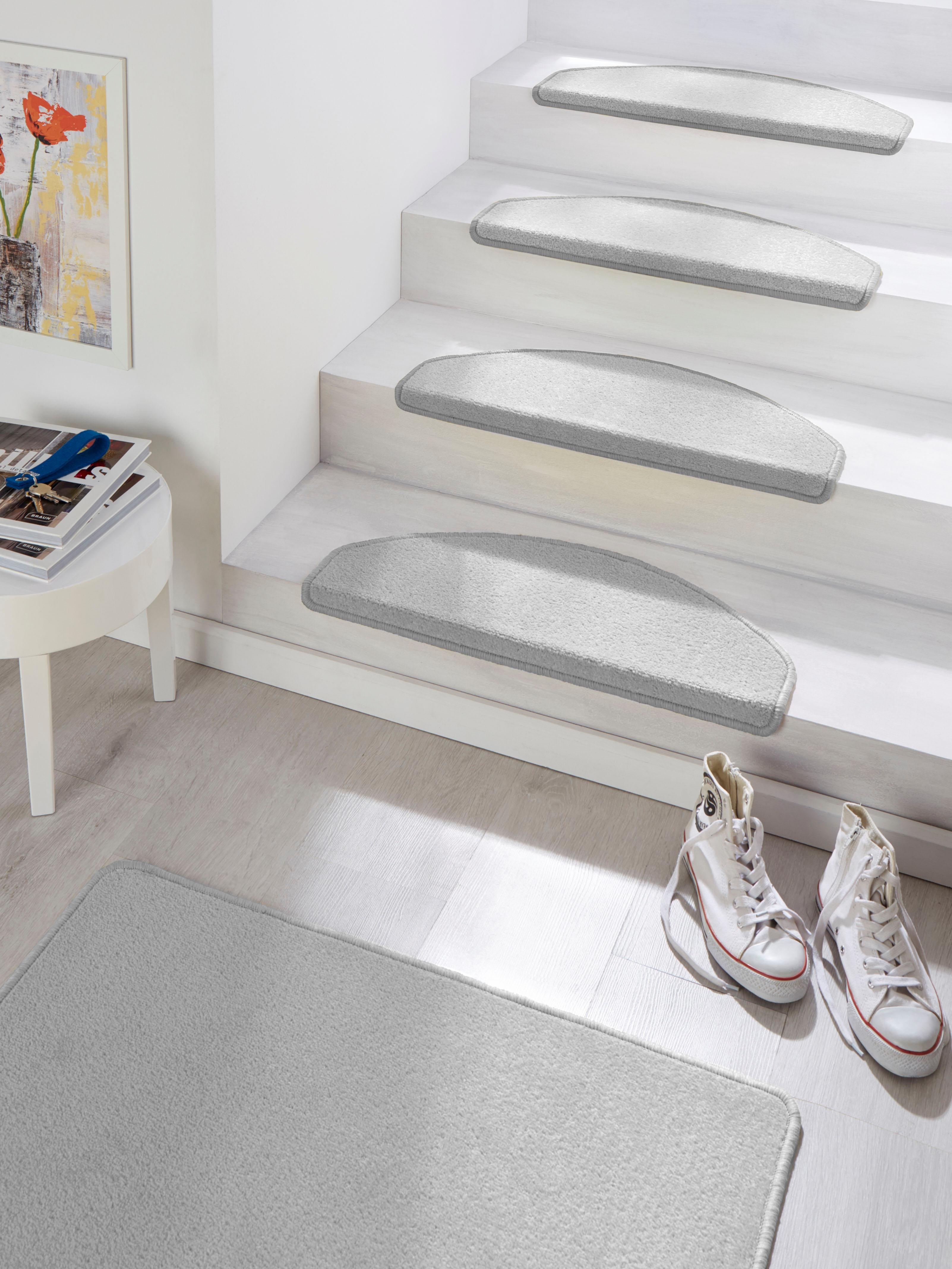 HANSE Home Stufenmatte Fancy, halbrund, 7 mm Höhe, große Farbauswahl, 15 Stück in einem Set grau Stufenmatten Teppiche
