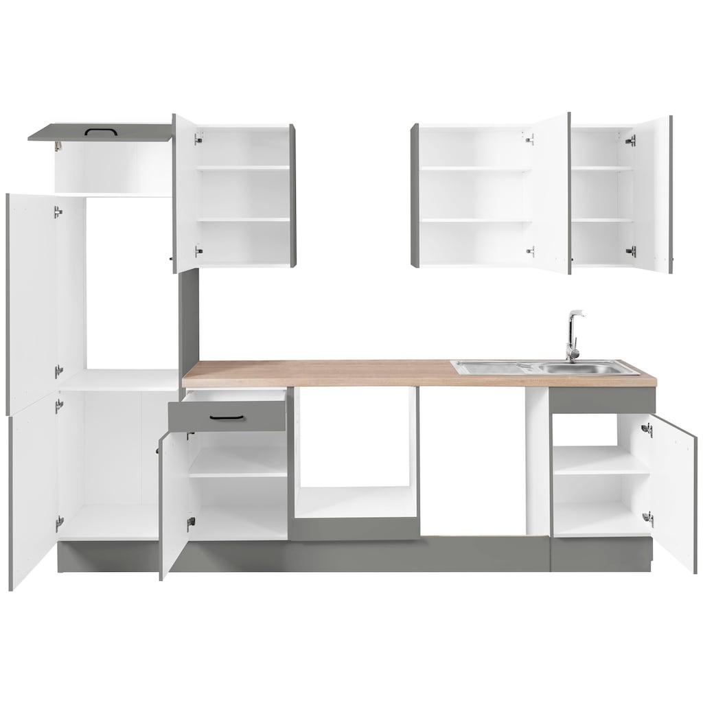 OPTIFIT Küchenzeile »Elga«, ohne E-Geräte, Premium-Küche mit Soft-Close-Funktion, Vollauszug, höhenverstellbaren Füßen, Metallgriffen und 38 mm starker Arbeitsplatte, Breite 280 cm