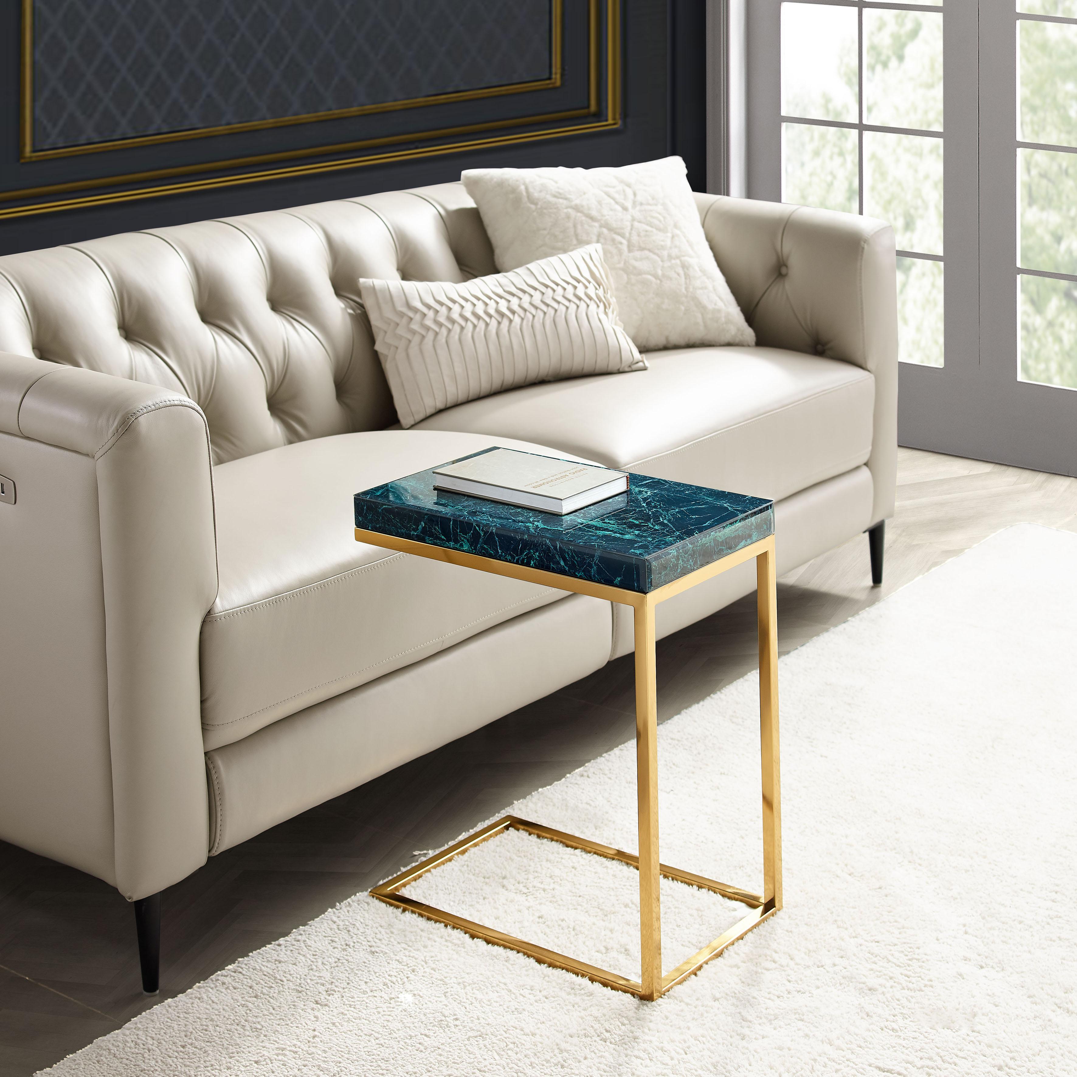 Leonique Beistelltisch Kamilla, Tischplatte in Marmoroptik, auch als Nachttisch geeignet gelb Beistelltische Tische