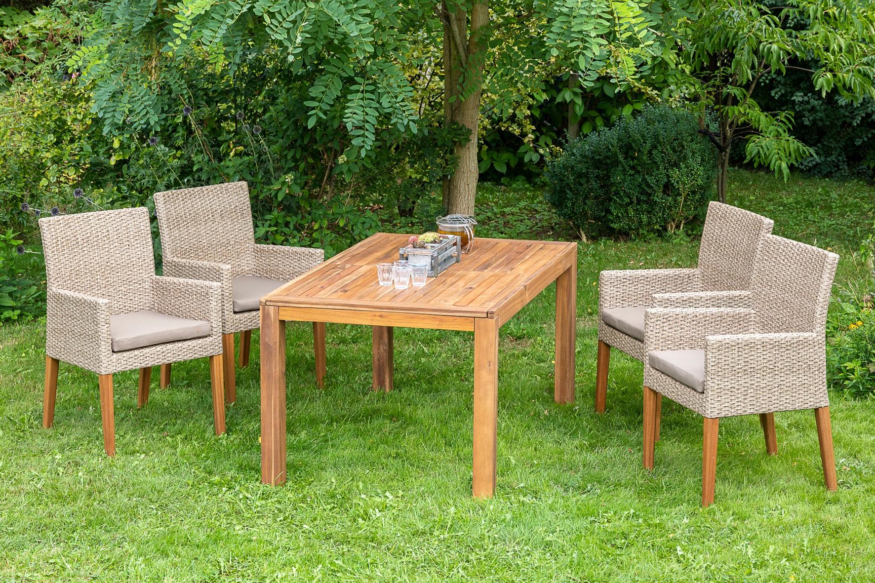 MERXX Gartenmöbelset Ranzano 9-tlg 4 Sessel Tisch 150(200)x90 cm inkl Sitzkissen