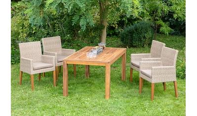 MERXX Gartenmöbelset »Ranzano«, 9 - tlg., 4 Sessel, Tisch 150(200)x90 cm, inkl. Sitzkissen kaufen
