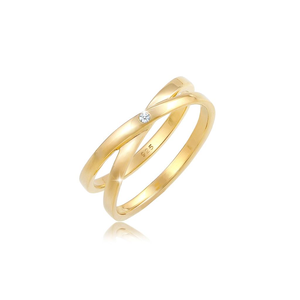 Diamore Diamantring »Wickelring Cross Diamant (0.015 ct.) 925 Silber«