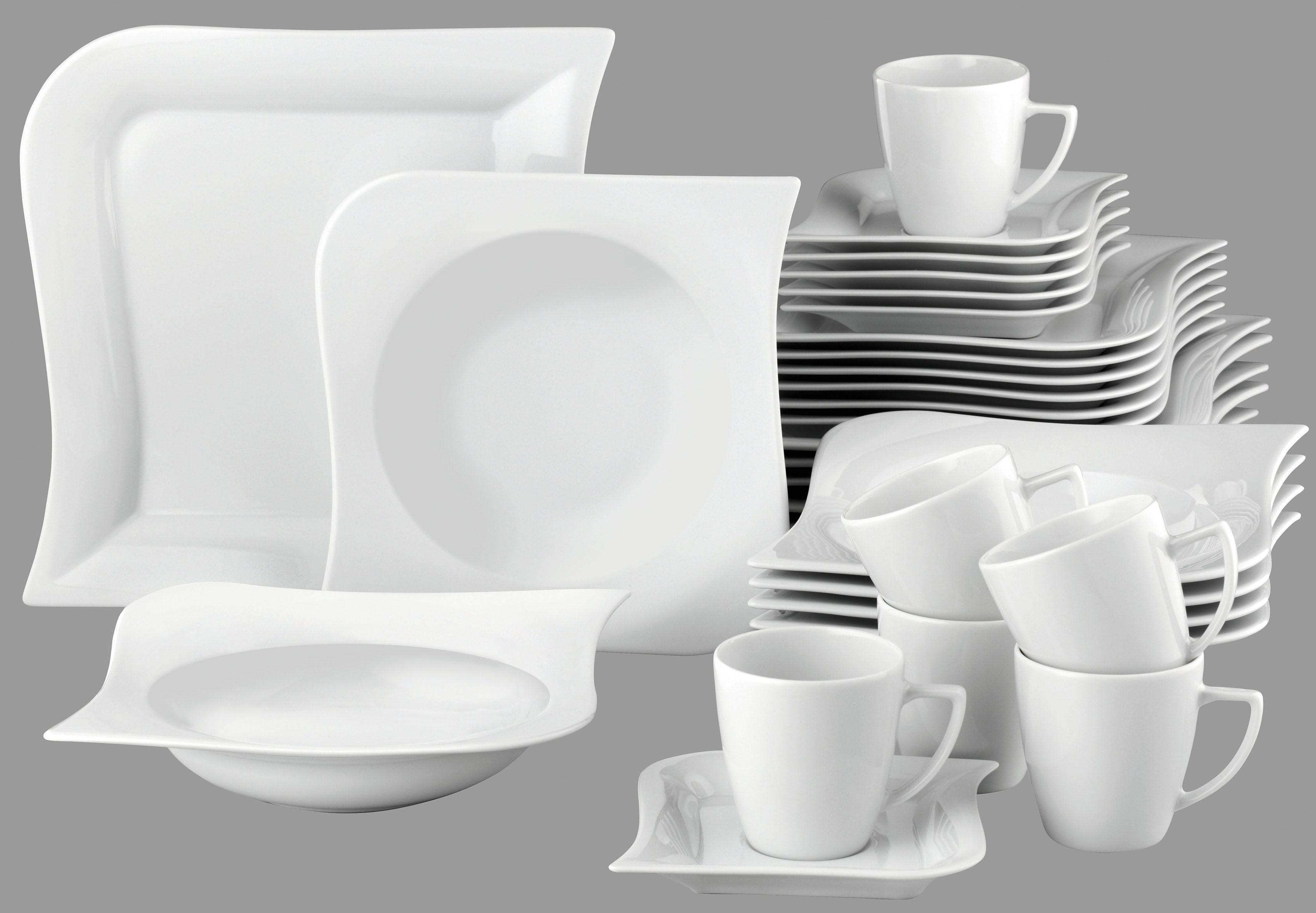 van Well Kombiservice Opera, (Set, 30 tlg.), Mikrowellengeeignet weiß Geschirr-Sets Geschirr, Porzellan Tischaccessoires Haushaltswaren