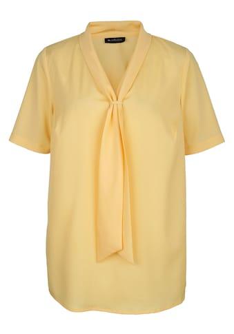 m. collection Bluse mit streckendem V - Ausschnitt in Krawatten - Optik kaufen