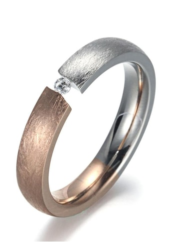 Firetti Fingerring »4,0 mm, Matt-Glanzoptik, bicolor«, mit Zirkonia kaufen