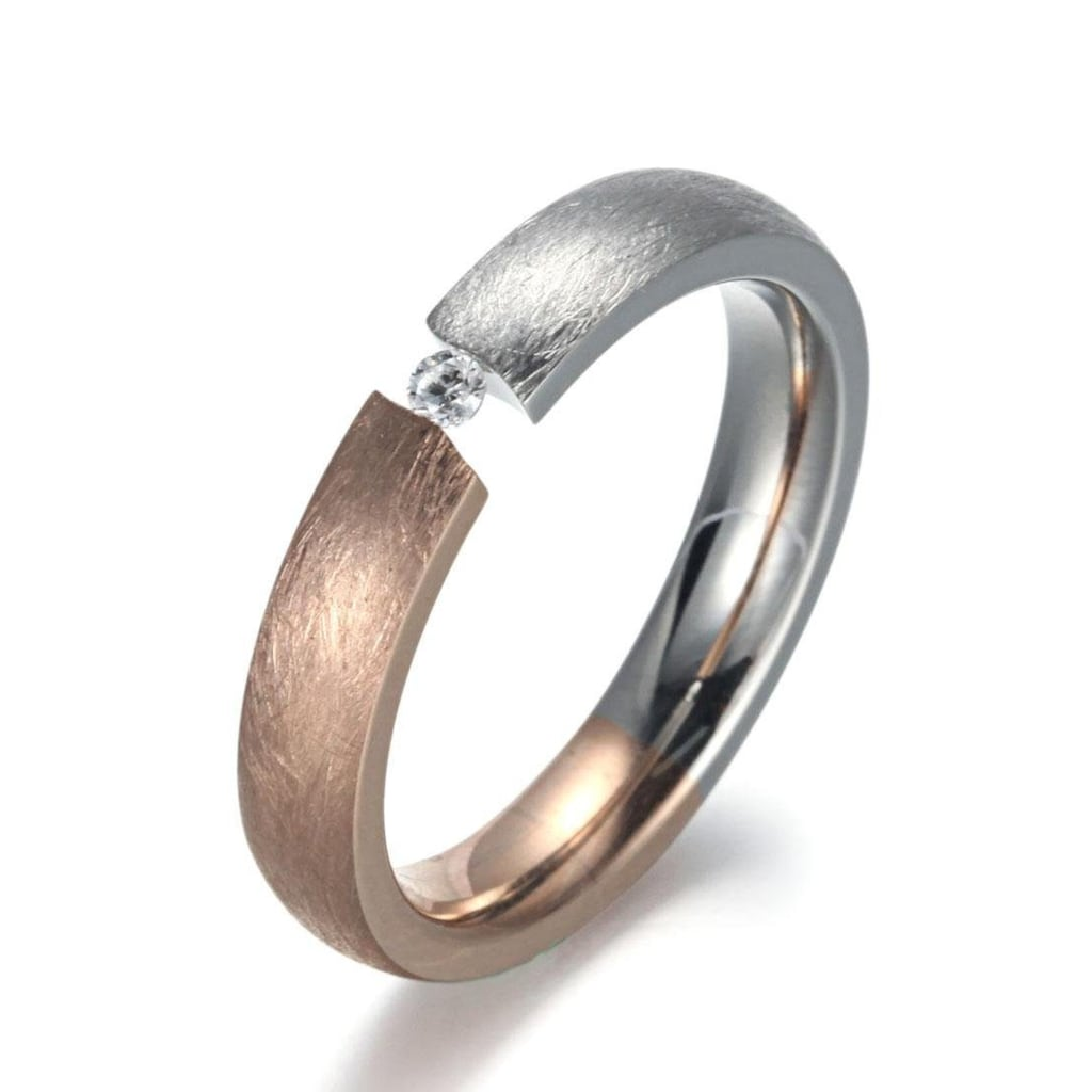 Firetti Fingerring »4,0 mm, Matt-Glanzoptik, bicolor«, mit Zirkonia