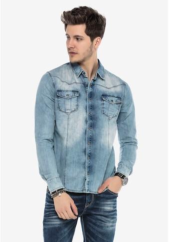 Cipo & Baxx Jeanshemd, mit praktischen Druckknöpfen kaufen
