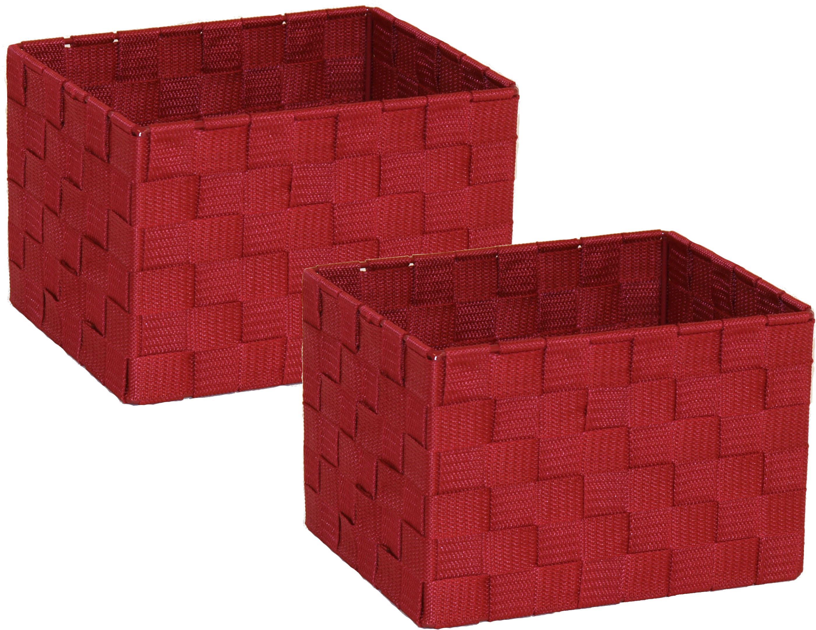 Franz Müller Flechtwaren Aufbewahrungsbox, (Set, 2 St.), Gr. 23 x 18 cm rot Kleideraufbewahrung Aufbewahrung Ordnung Wohnaccessoires Aufbewahrungsbox