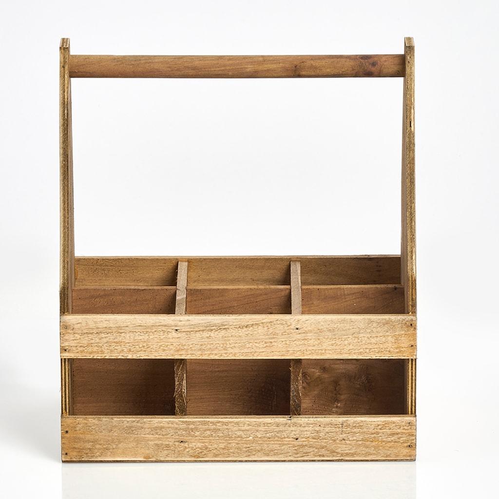 Zeller Present Flaschenkorb, (1 tlg.), Holz, für 6 Flaschen