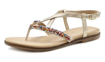 LASCANA Zehentrenner, Sandale aus Leder mit Glitzer kaufen