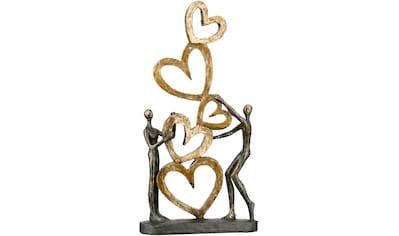 Casablanca by Gilde Dekofigur »Skulptur Herz auf Herz, goldfarben/schwarz«,... kaufen