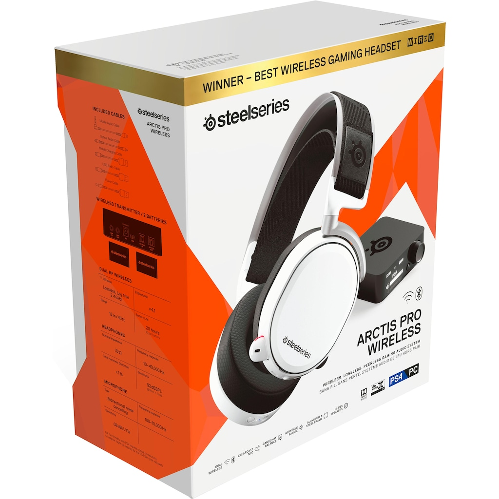 SteelSeries Gaming-Headset »Arctis Pro Wireless White«, Hi-Res-Noise-Cancelling