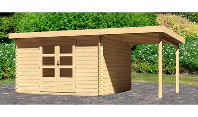 WOODFEELING Set: Gartenhaus »Bastrup 7«, BxT: 575x333 cm, mit Anbaudach kaufen