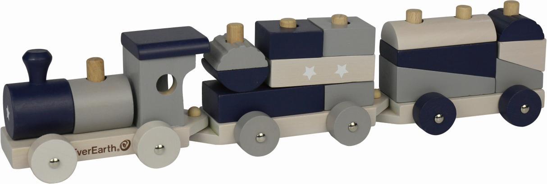 EverEarth Spielzeug-Eisenbahn Eisenbahn - Pastell, FSC-Holz aus gewissenhaft bewirtschafteten Wäldern bunt Kinder Holzspielzeug