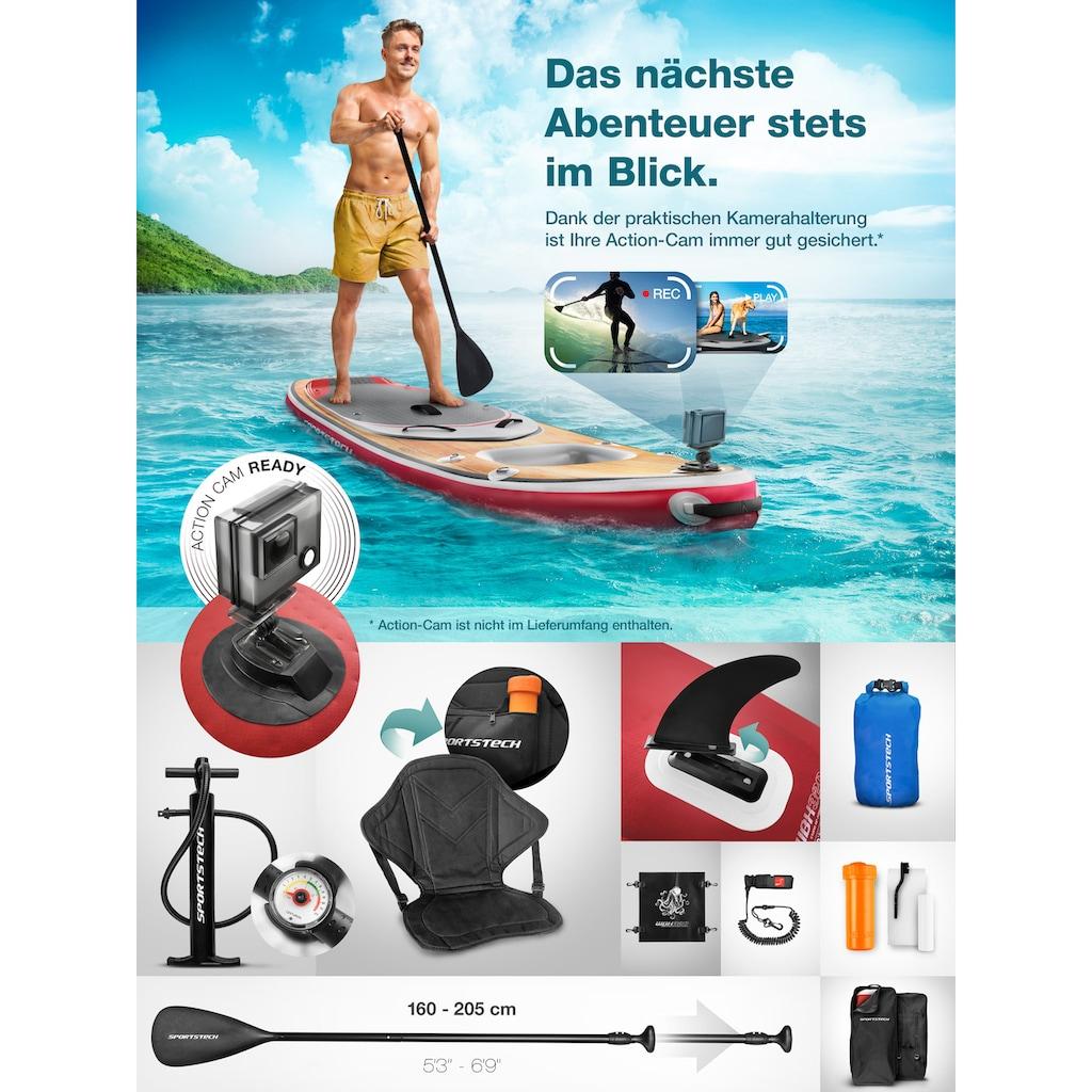 Sportstech Inflatable SUP-Board »WBX_AQUEMINI«, (Set, 9 tlg., mit Paddel, Pumpe, Transportrucksack und Sitz), Sichtfenster