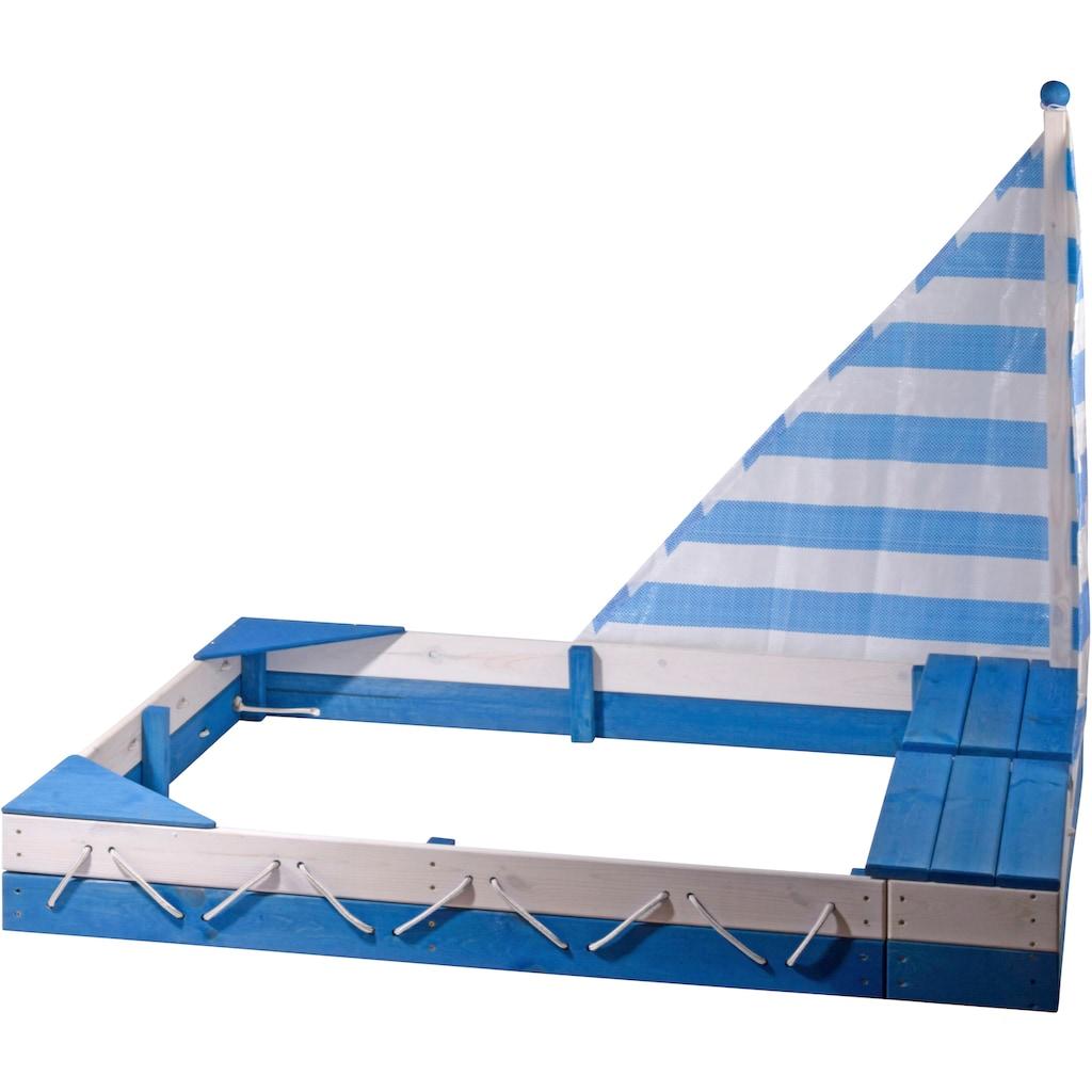 dobar Sandkasten »Maritim«, mit Segel und zwei Spielzeugkisten