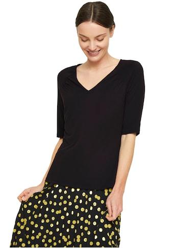 Comma V-Shirt, mit Raffung an der Schulterpartie aus edlem Modal-Mix kaufen