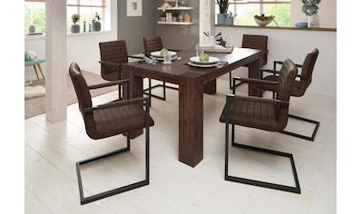 Home affaire Essgruppe »Bine«, (Set, 7 tlg.), bestehend aus 6 Sabine Stühlen mit Armlehne und dem Maggie Esstisch akazie dunkel kaufen