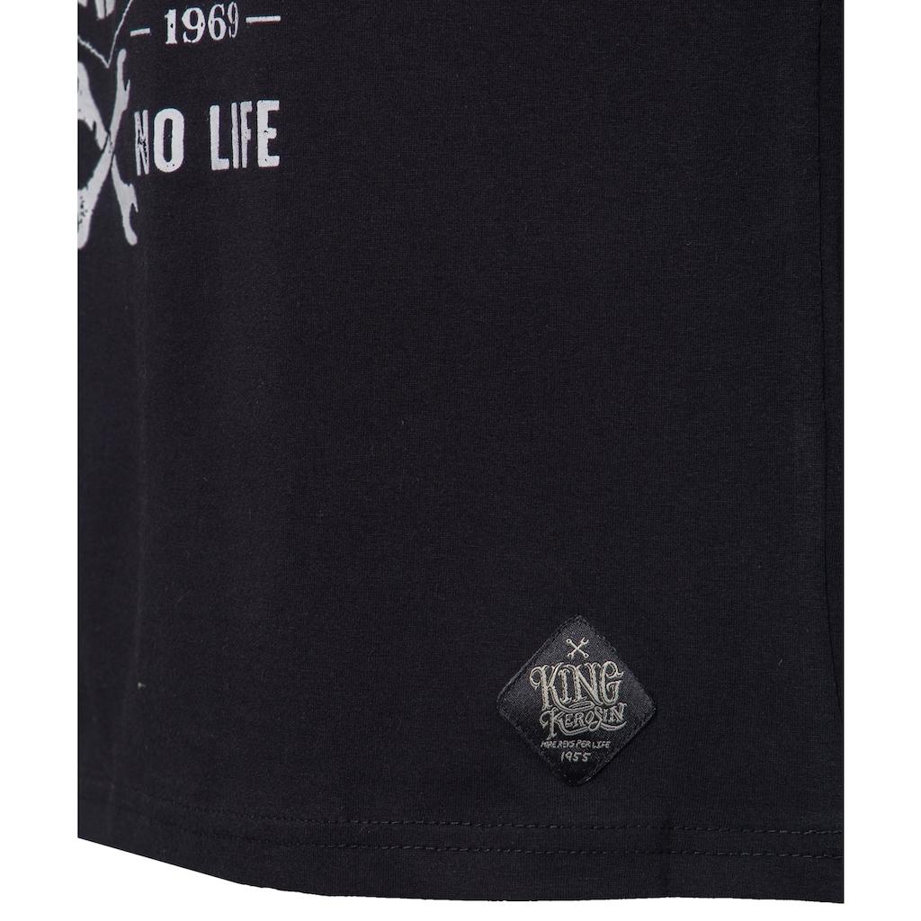 KingKerosin Print-Shirt »No Race No Life«, mit Frontprint im Bikerstyle