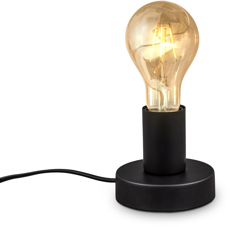 B.K.Licht Tischleuchte, E27, 1 St., Vintage Tischlampe, mit Kabelschalter, Retro Nachttischlamp, Tischlampe, E27, Matt-Schwarz, ohne Leuchtmittel, Ø10cm