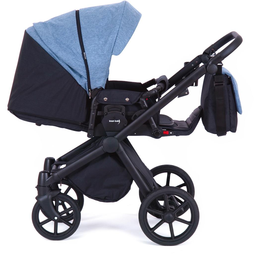 Knorrbaby Kombi-Kinderwagen »Life+ 2.0 Black Edition, Jeansblau-Schwarz«, 15 kg, Gestell faltbar; Made in Europe; Kinderwagen