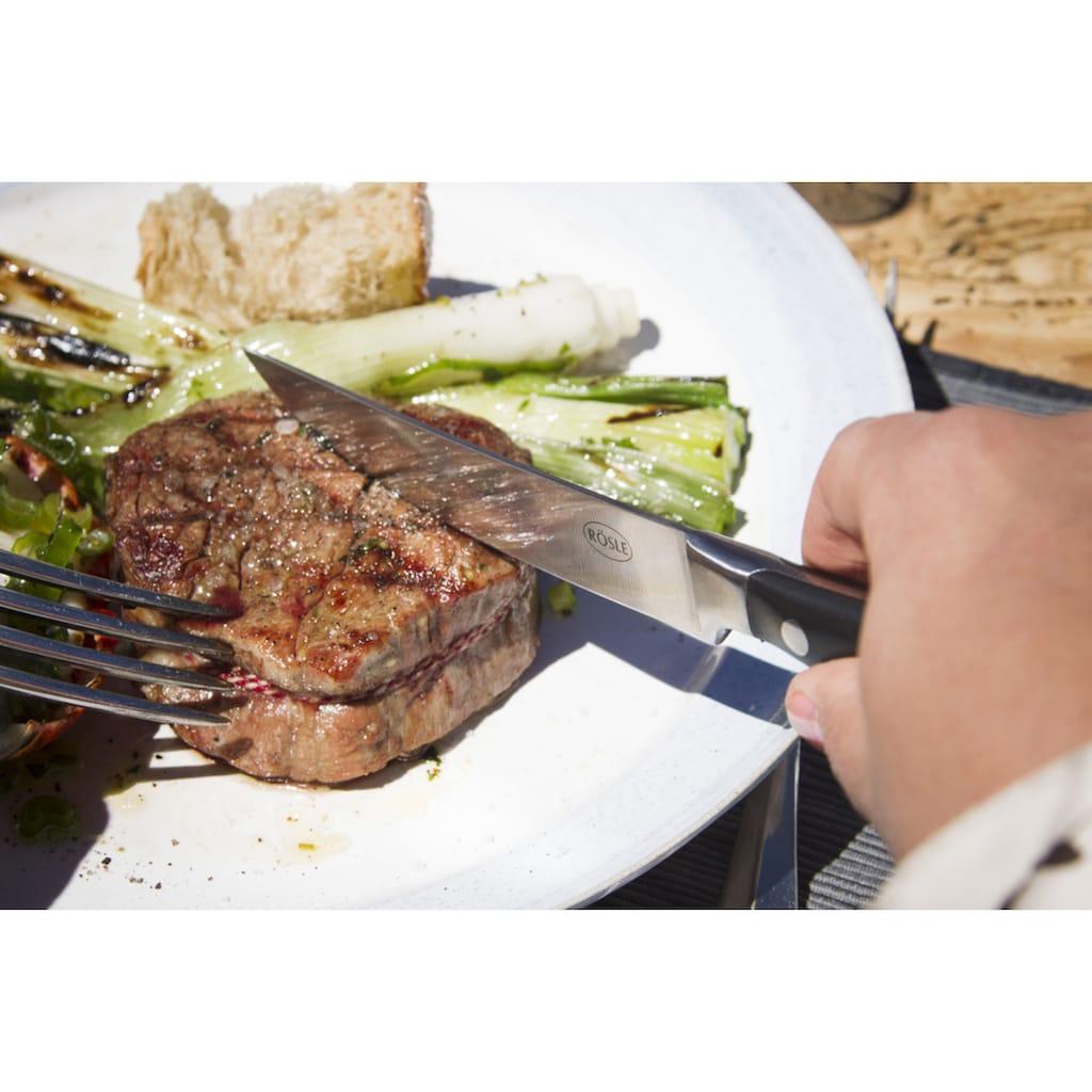 RÖSLE Steakbesteck, (Set, 4 tlg.), Set mit 2 Steakmessern mit scharf geschliffener Klinge aus Klingenspezialstahl und 2 Steakgabeln, POM, inkl. praktischer Holzbox