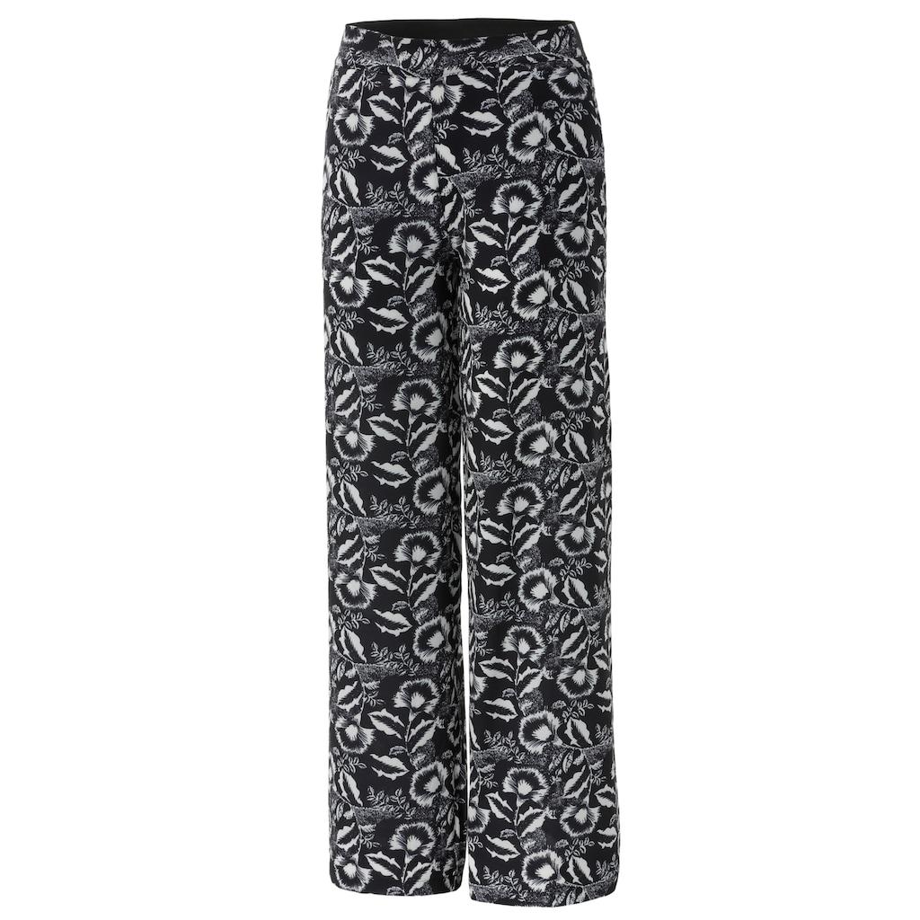 Aniston CASUAL Schlupfhose, mit kontrastfarbenen Blumendruck - NEUE KOLLEKTION