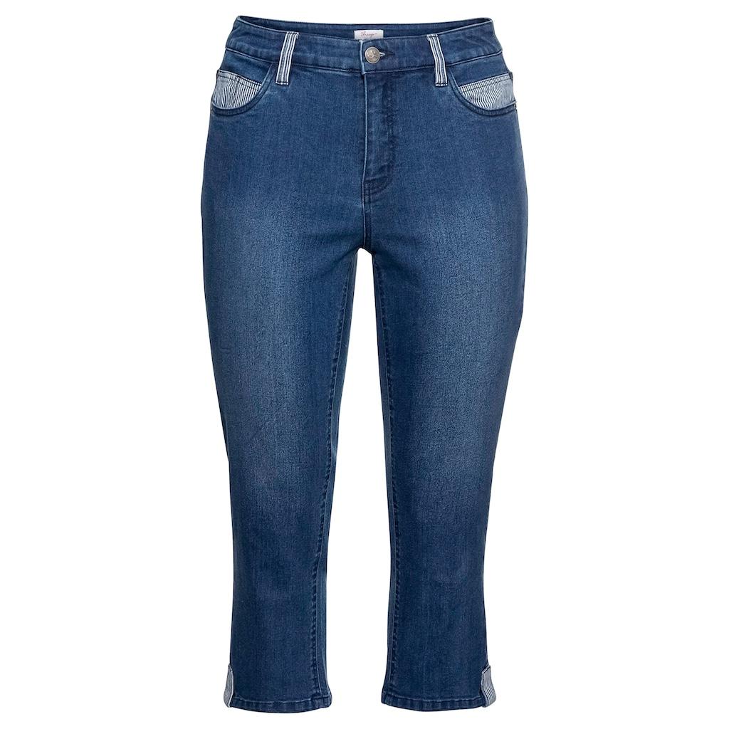 Sheego Stretch-Jeans, «Die Schmale», in 7/8-Länge, mit Kontrastdetails