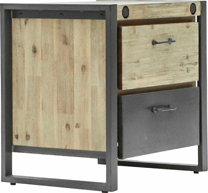 Quadrato Nachttisch Mirage mit Metallschrauben als Dekoelement und zwei Schubladen Breite 60 cm | Schlafzimmer > Nachttische | Braun | Quadrato