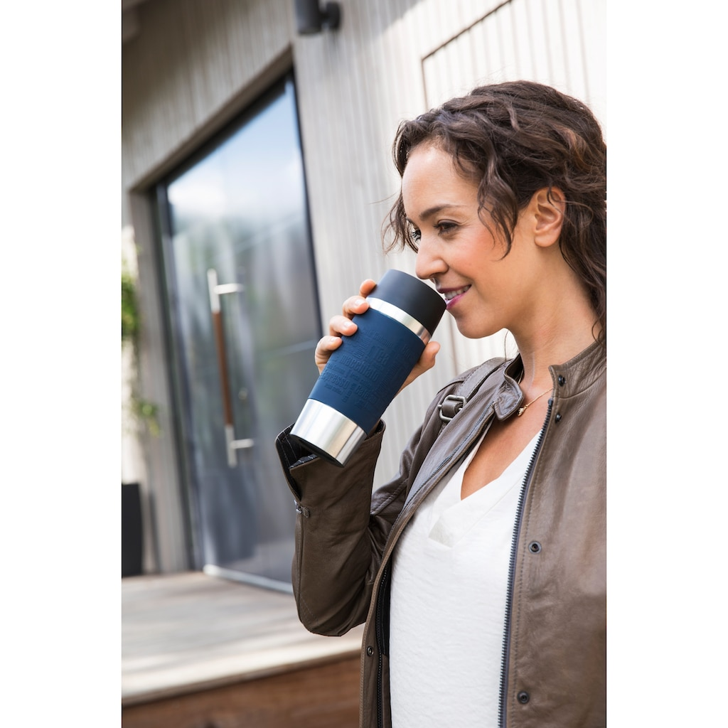 Emsa Thermobecher »Travel Mug«, (1 tlg.), Edelstahl, 360 ml Inhalt, auslaufsicher, 4h heiß, 8h kalt, 360°-Rundum-Trinköffnung, spülmaschinenfest