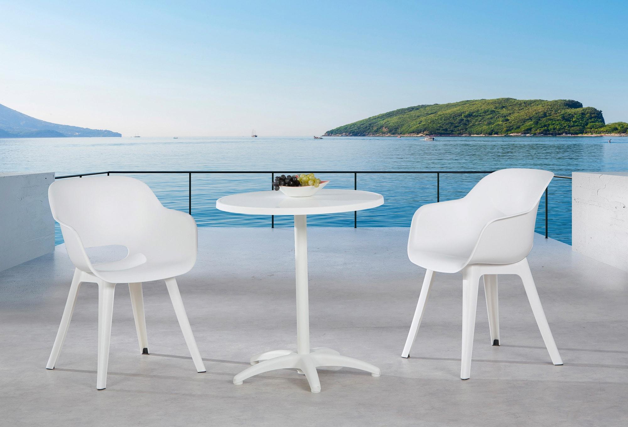 BEST Gartenmöbelset Split 2 Sessel Tisch Ø 70 cm