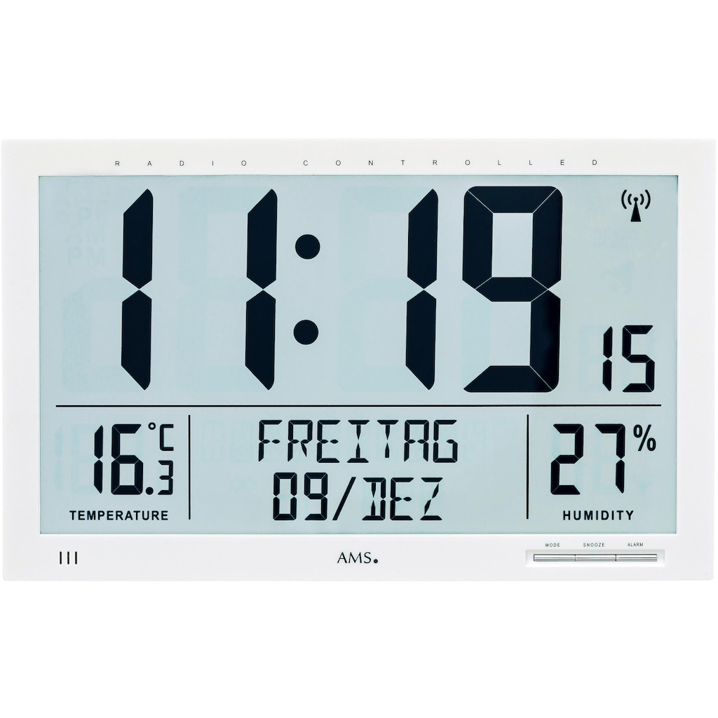 AMS Funkwanduhr »F5887«, mit Alarm