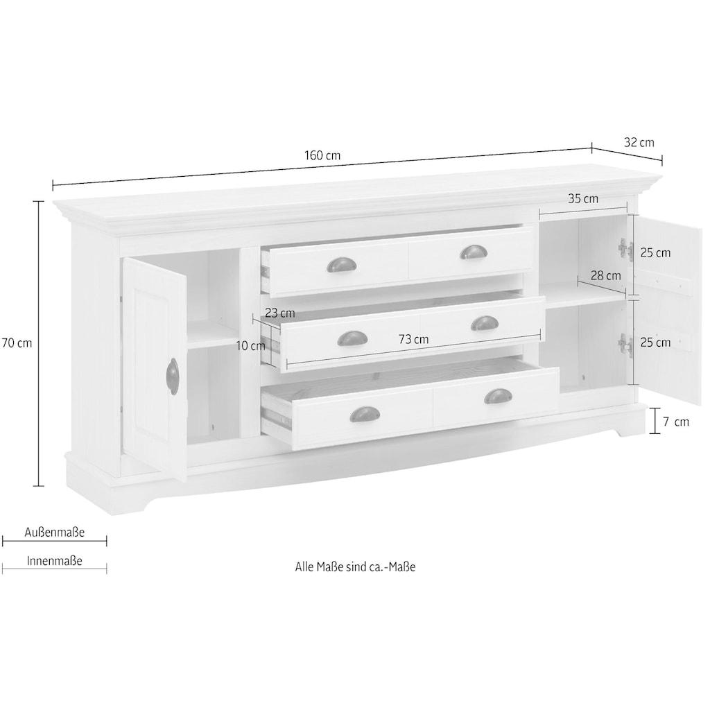Home affaire Sideboard »Eva«, aus massiver Kiefer,Breite 160 cm