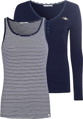 TOM TAILOR Polo Team Langarmshirt, Ausschnitt und Zier-Knopfleiste mit Spitze, kombinierbar mit gestreiftem Top kaufen