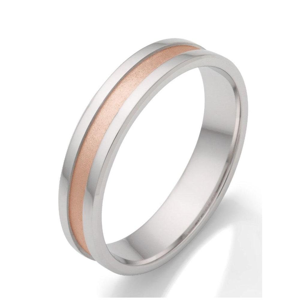 Firetti Trauring mit Gravur »rhodiniert, glanz, sandmatt, Diamantschnitt, bicolor, 5,0 mm breit«, wahlweise mit oder ohne Zirkonia