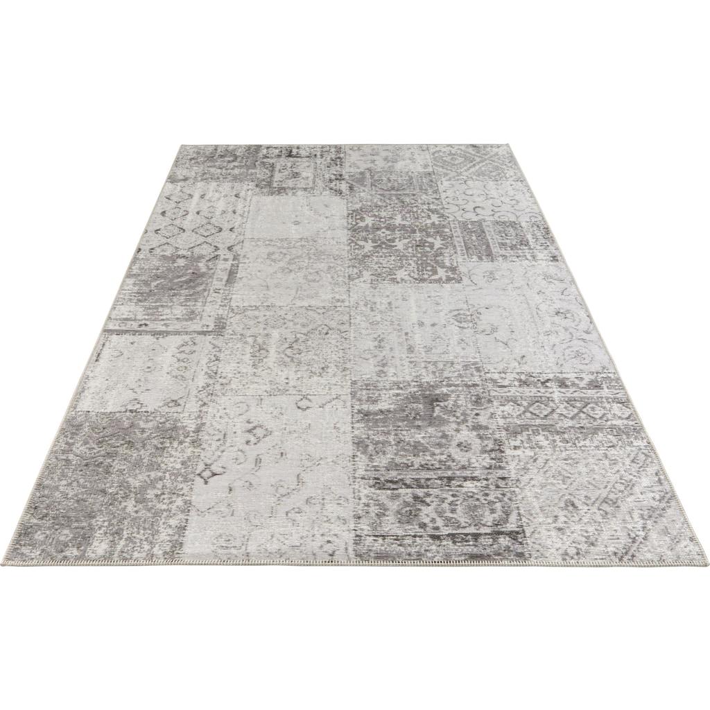 ELLE Decor Teppich »Denain«, rechteckig, 4 mm Höhe, Vintage Patchwork, hochwertiger Materialmix, Wohnzimmer