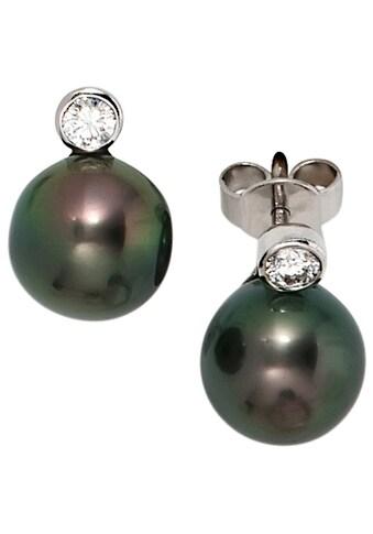 JOBO Perlenohrringe, 585 Weißgold 2 Diamanten und Tahiti-Zuchtperlen kaufen